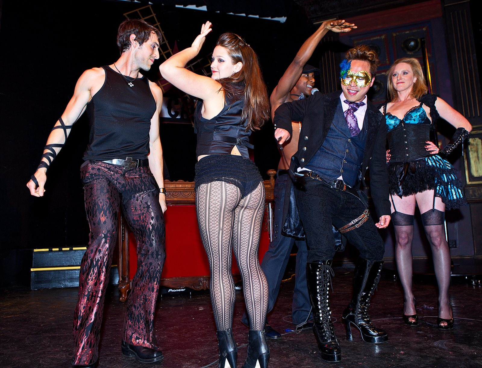 Contestants of the French Kiss costume contest showing what they've got!