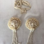 Antique Pearled Pasties with Art Deco Applique and Tassle