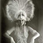 Silent Film Star Gloria Swanson (1919) in White Peacock Headdress